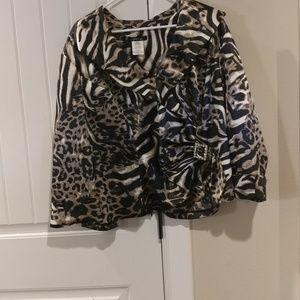 Wrap jacket with jewel embellishment